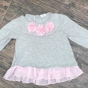 Other - Gray long sleeve with pink flower embellishment